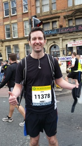 Waiting for the warm-up to start for the Manchester 10k. Third year running.