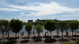A view of Old Trafford from Salford Quays in Greater Manchester.