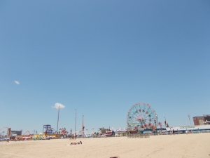 Coney Island. Lovely place to relax and chill. However, I managed to burn my back and there is now a hand print, my own, in sun tan where I put some sun cream on just the places I could reach.