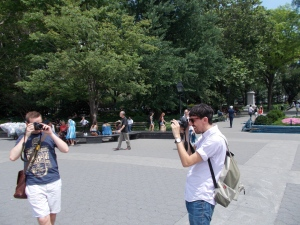 In Washington Square Park. Me taking a picture of Leigh (white shirt) taking a picture of Paul taking a picture of me. For no reason at all.