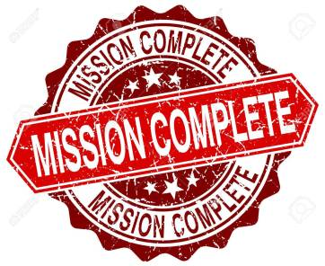 mission complete red round grunge stamp on white